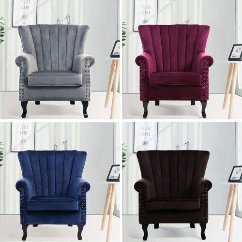 VELVET WING BACK OCCASIONAL BEDROOM LIVING ROOM ACCENT CHAIR ARMCHAIR VICTORIAN Coffee,Wine Red,Grey,Dark Blue