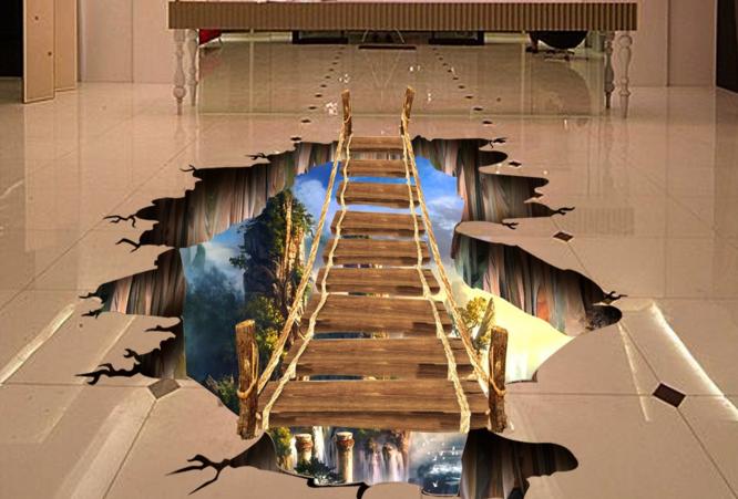 3D Mountain Bridge 70 Floor WallPaper Murals Wall Print Decal AJ WALL CA Carly