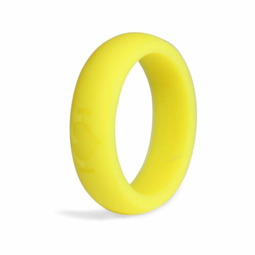 Neon Yellow Silicone Wedding Rings for Women, Band Perfect for Crossfit, Fitness