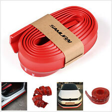 Red Universal Car Rubber Lip Skirt Protector Front Bumper Spoiler Side Splitter