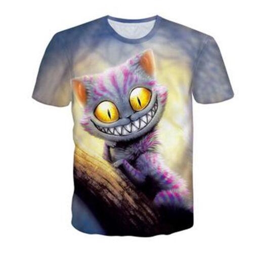 New Women Men Funny Alien Cat Print 3D T-Shirt Short Sleeve Casual Tops Tee