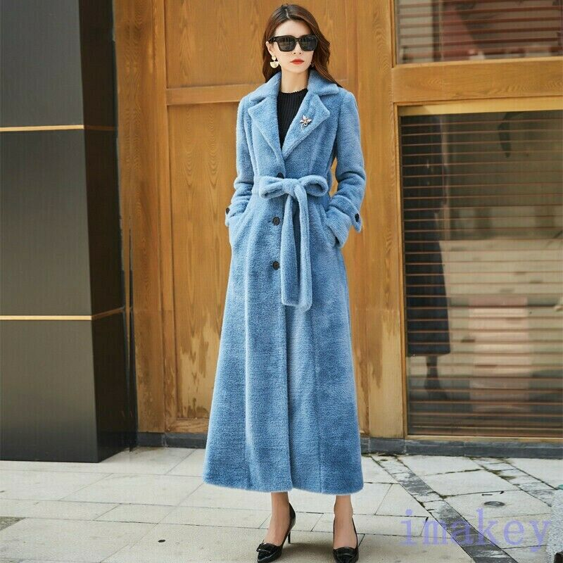 Lady's Mink Fur Extra-long Outwear Parka Slim Fit Warm Thick Lapel Coat Overcoa