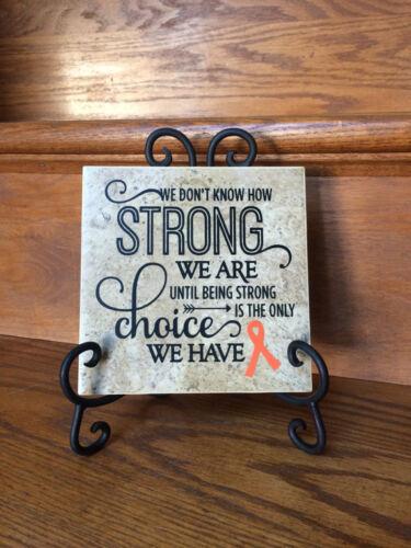 """cancer gift Ceramic Tile 6x6/"""" Orange ribbon Kidney Cancer survivor gift"""