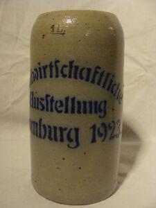 BIERKRUG-LANDWIRTSCHAFTLICHE-AUSSTELLUNG-HOMBURG-1923-1L-VORNE-GEEICHT-SELTEN