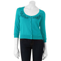 Candie's® Bejeweled Blue Girl's Cardigan - Size Xl