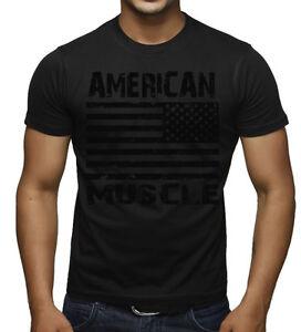 Men's American Muscle Flag Black on Black T Shirt US USA Workout ...