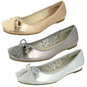 Ladies Spot On Dolly Shoes Pewter F80198