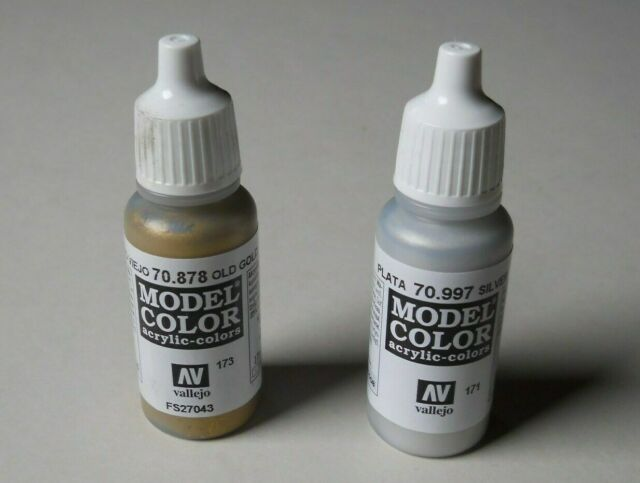 Vallejo Model Color Acrylic 70.878 Old Gold 70.997 Silber jeweils 17ml fast neu