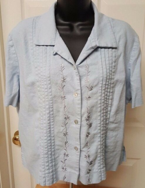 SL Fashions Womens Linen Blue Floral Button Down Shirt Top Blouse Size 12