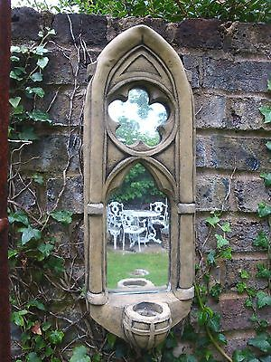 """GOTHIC MIRROR SINGLE SCONCE FROST PROOF STONE HOME OR GARDEN MIRROR 53cm/21"""" H"""