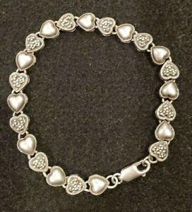 925-Sterling-Silver-Vintage-Marcasite-Gem-Heart-Design-Link-Bracelet-8-034