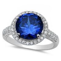 Halo Blue Sapphire & Cz .925 Sterling Silver Ring Sizes 5-10