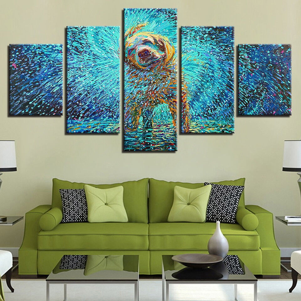 Psychedelic Shaking Dog Animal Painting 5 Panel Canvas Print Wall Art Home Decor