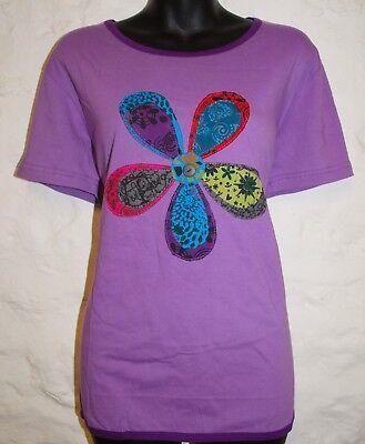 New Fair Trade Top Size 16 Hippy Ethnic Cotton Hippie T-Shirt Rainbow Rebel