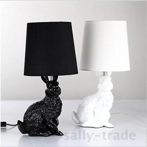 Modern Table Lamps Black White Shade Lovely Resin Rabbit