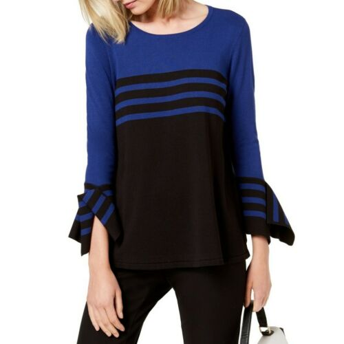 ALFANI NEW Women/'s Striped Bell-sleeve Crewneck Sweater Top TEDO