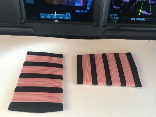 AIRLINES CAPTAIN EPAULETS SLIDERS  4 PINK BARS ON BLACK by WORLD PILOT SUPPLIES
