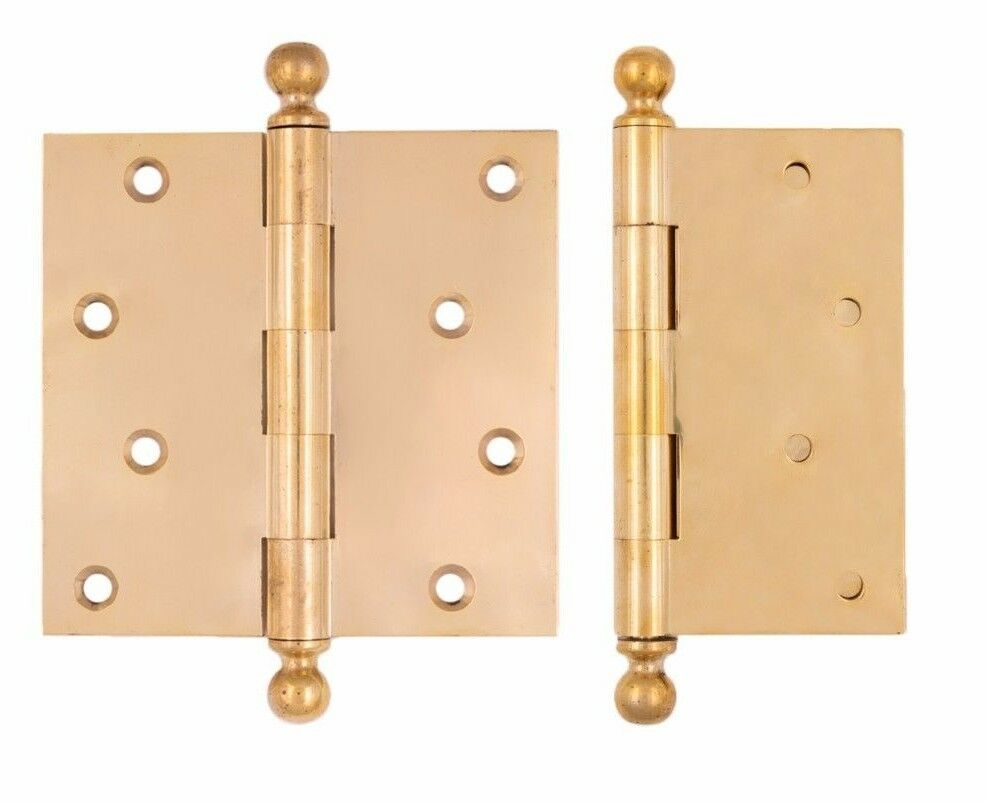 5  x 5  inch Brass Ball Tip Reproduction Hinges polished brass loose pin