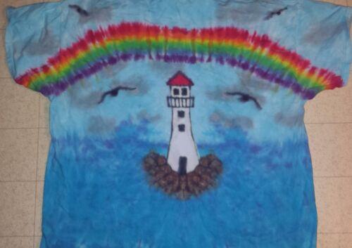 SUNRISE CANOE KIDS Handmade Tie Dye shirt LANDSCAPES LIGHTHOUSE RAINBOW