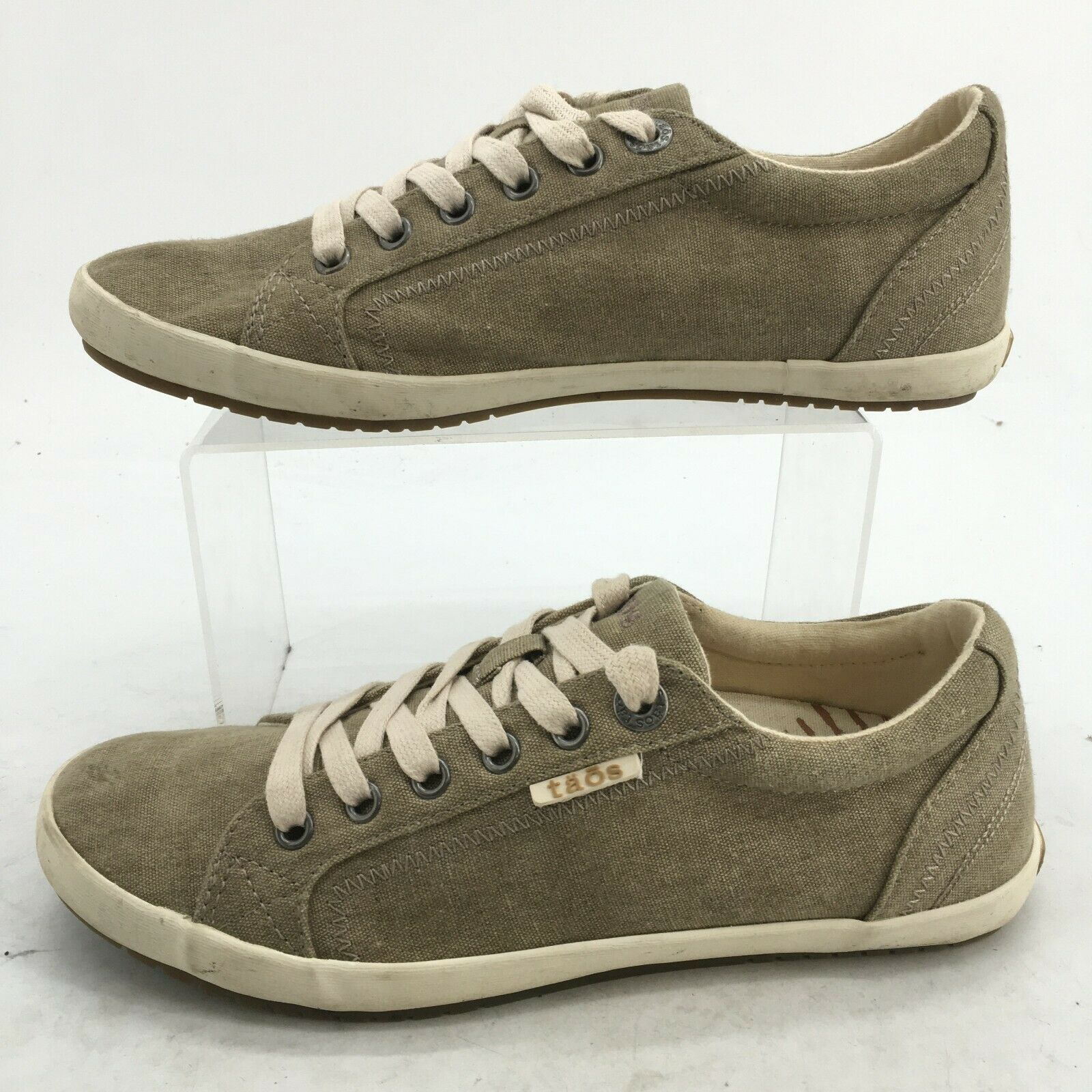 Taos Womens 8 Star Lace Up Low Top Casual Shoes Sneakers Khaki Canvas