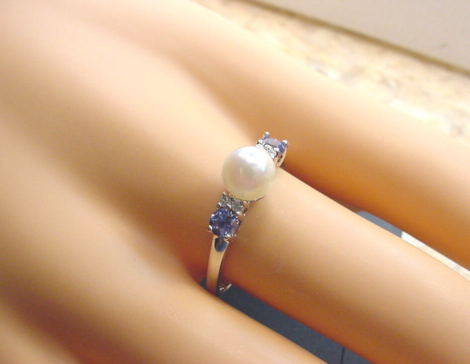 CULTURED AKOYA PEARL 6.48 mm blueE SAPPHIRES and DIAMONDS 10K WHITE gold RING