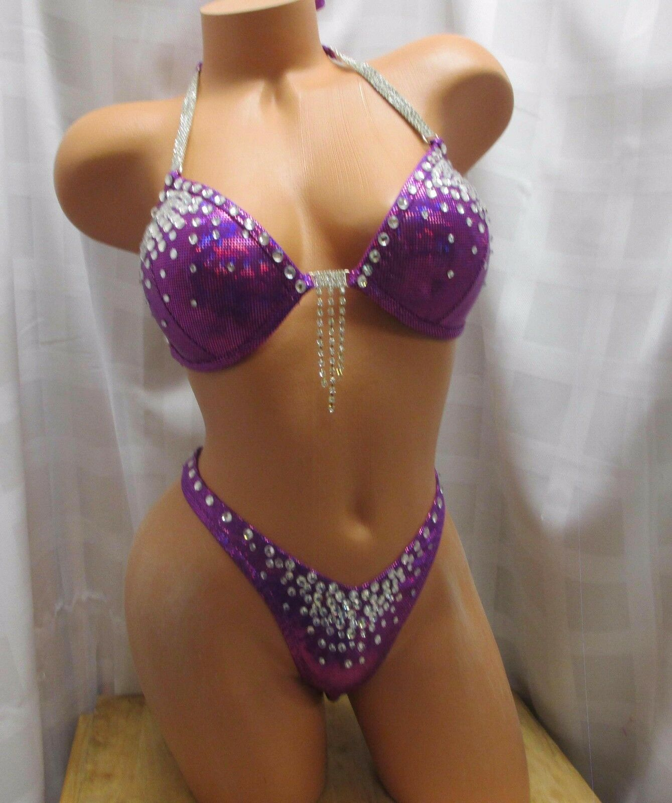 COMPETITION FITNESS FIGURE POSING SUIT PURPLE HOLOGRAM CRYSTAL RHINESTONES WOW