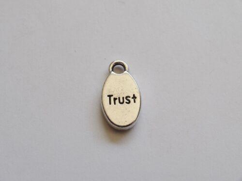 25 Silver Oval 'Trust' Metal Jewellery Charms//Tags 16x9mm