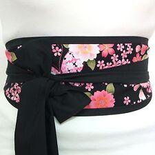 Butterfly Cherry Blossom Fabric OBI belt Japanese geisha style waist sash tie