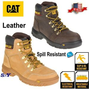 23b975eb2f1 Details about CAT Heavy Duty Soft Toe Oil & Slip Resistant Leather Work  Safety Boot