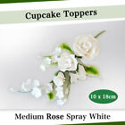 Cupcake Toppers Medium Rose Spray White 10 x 18cm Sugar Flowers Edible Wedding