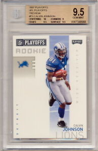 2007 Playoffs Preview #P3 Calvin Johnson Rookie Card Graded BGS 10-9-9.5-9.5