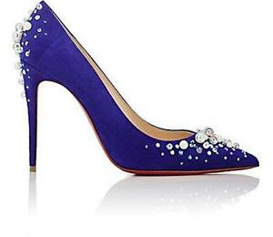 def5f521f14 Christian Louboutin CANDIDATE Jewel Crystal Pearl Suede Heels Pumps ...