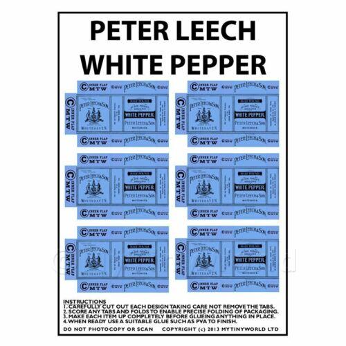 Maison de Poupées Miniature Emballage Feuille de 6 peter Sangsue Poivre Blanc