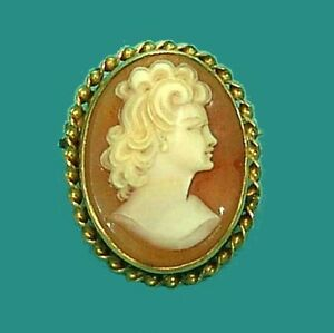 Beautiful-Old-Vintage-9ct-Gold-Hand-Carved-Cameo-Brooch-Pin-Pretty-Lady