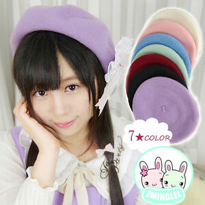 Lolita-Girls-Candy-Colors-Manga-Drawer-039-s-Beret-Hat-Kawaii-Cute-Painter-Beret-Cap