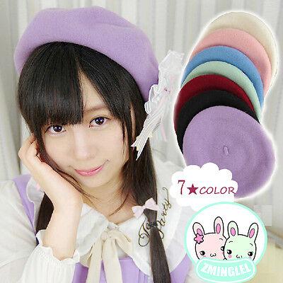 Lolita Girls Candy Colors Manga Drawer's Beret Hat Kawaii Cute Painter Beret Cap