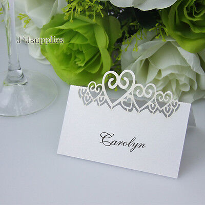 50x NEW! White Heart Place Cards Wedding Bomboniere Centrepiece