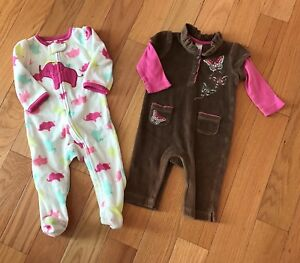 404629847c224 Details about Baby Gap Brown Romper + Carter's 1-Piece Footed Sleeper Size  3-6M - Lot of 2