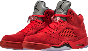 d9742c77d8b Nike AIR JORDAN Retro 5 V Red Suede Flight Suit 136027-602 Size 13 ...