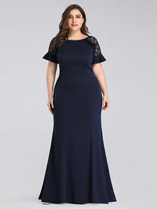Details about Ever-Pretty Plus Size Navy Maxi Fishtail Evening Dress Ball  Holiday Gown 07768