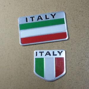 1pc Big 1pc Small Italy Flag Metal Badge Emblem Sticker Car Motors 3d Limited Ebay