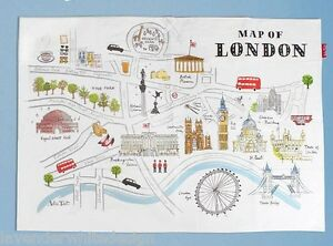 image is loading alice tait map of london tea towel with