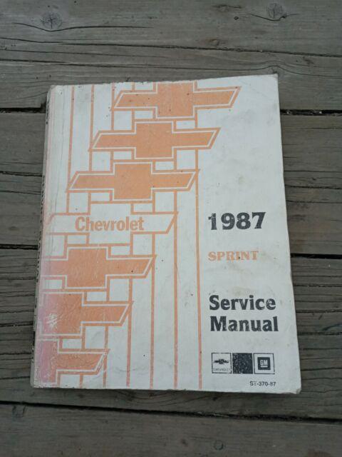 1987 Chevrolet Sprint Service Manual Shop Manual Repair