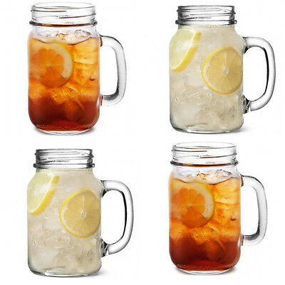 SET OF 4 DRINKING JARS TENNESSEE HANDLED GLASS TUMBLER JAR 15OZ (43CL)