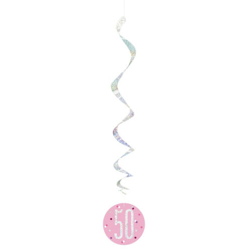 32in Long Happy Birthday Hanging Swirl Decorations Party Ceiling Foil String