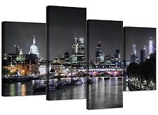 Canvas Wall Art of London Skyline for your Living Room - 4 Panel - River - 4211