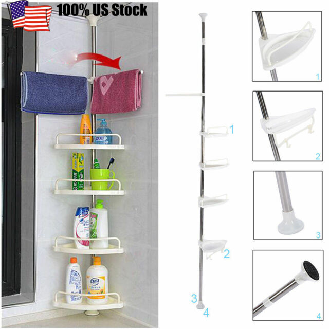 4layers Bathroom Shower Bath Caddy Corner Storage Rack Wall Shelf Pole Organizer For Sale Online Ebay