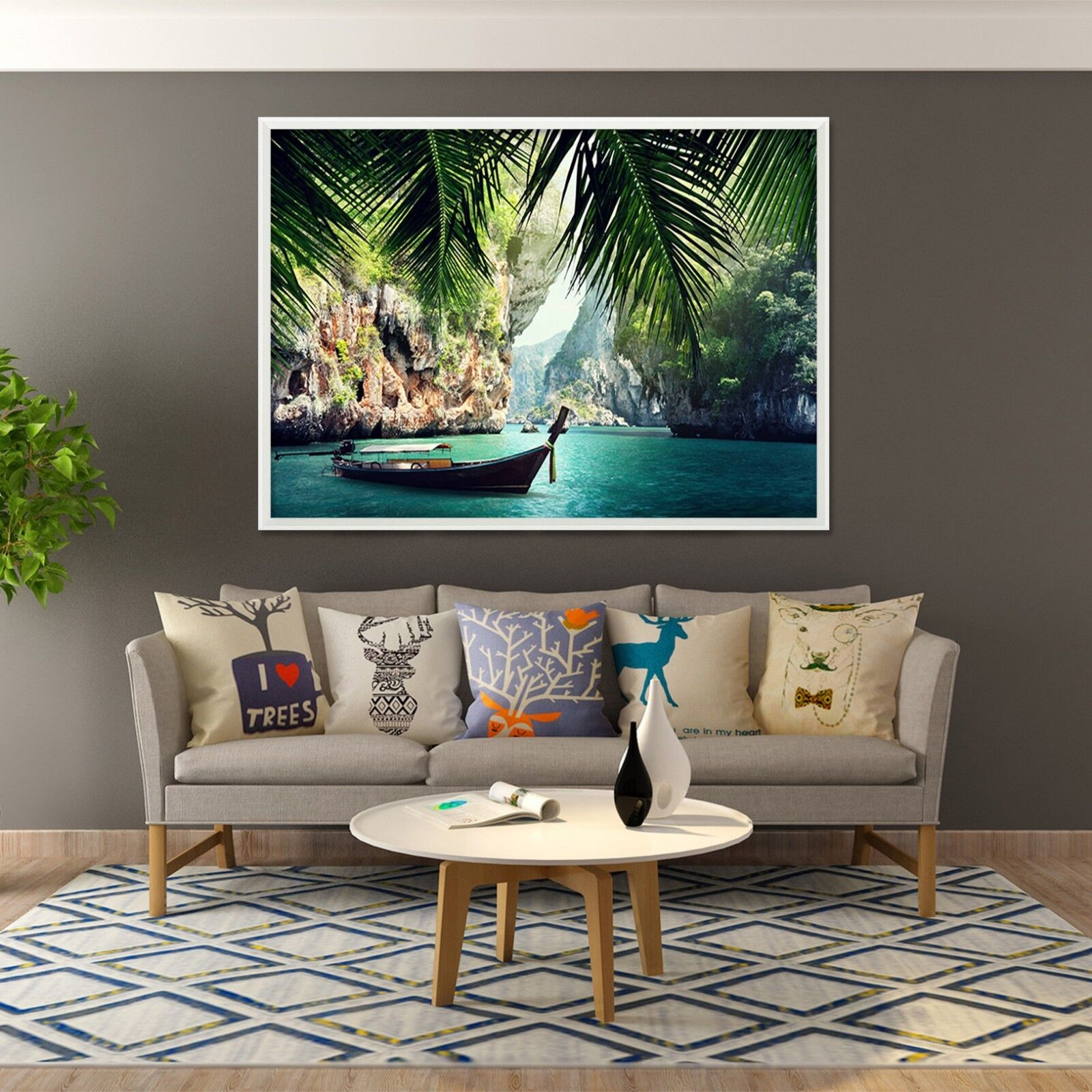 3D Ferry Lake 664 Fake Framed Poster Home Decor Print Painting Unique Art Summer
