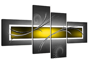 3b478328a5b Abstract Canvas Pictures in Yellow and Grey for Your Living Room - 4 Part