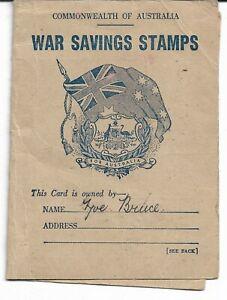 WW2 COMMONWEALTH OF AUSTRALIA WAR SAVINGS STAMPS & CARD